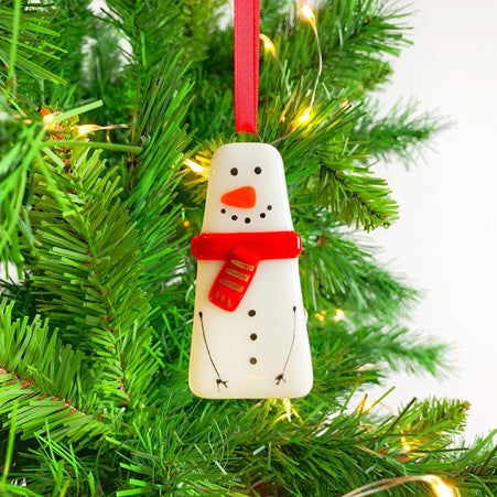 Snowman Fused Glass Decoration