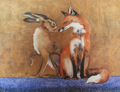 Space Between The Hare and The Fox- hand-embellished limited edition print by Jackie Morris
