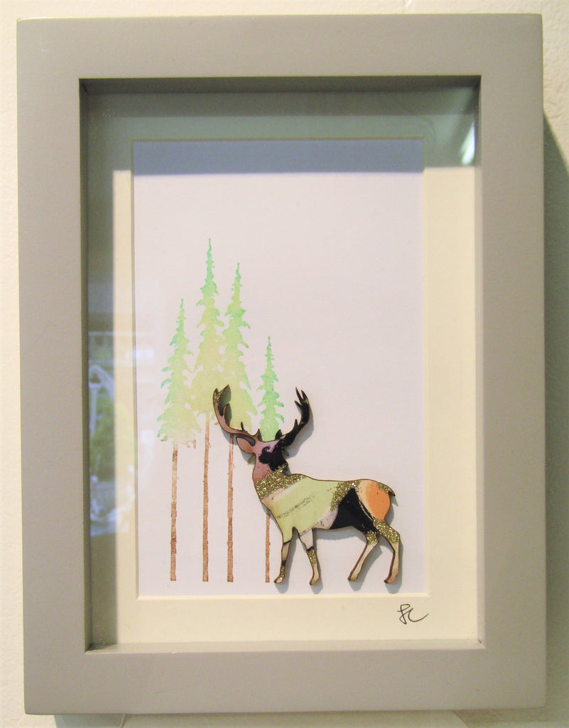 Stag in Forrest - Mini Framed Assemblage by Sophie Court