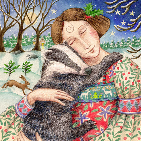 Starry Badger Hug by Wendy Andrew