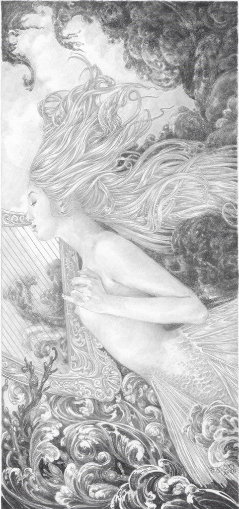 Storm Harpist - original pencil drawing by Ed Org