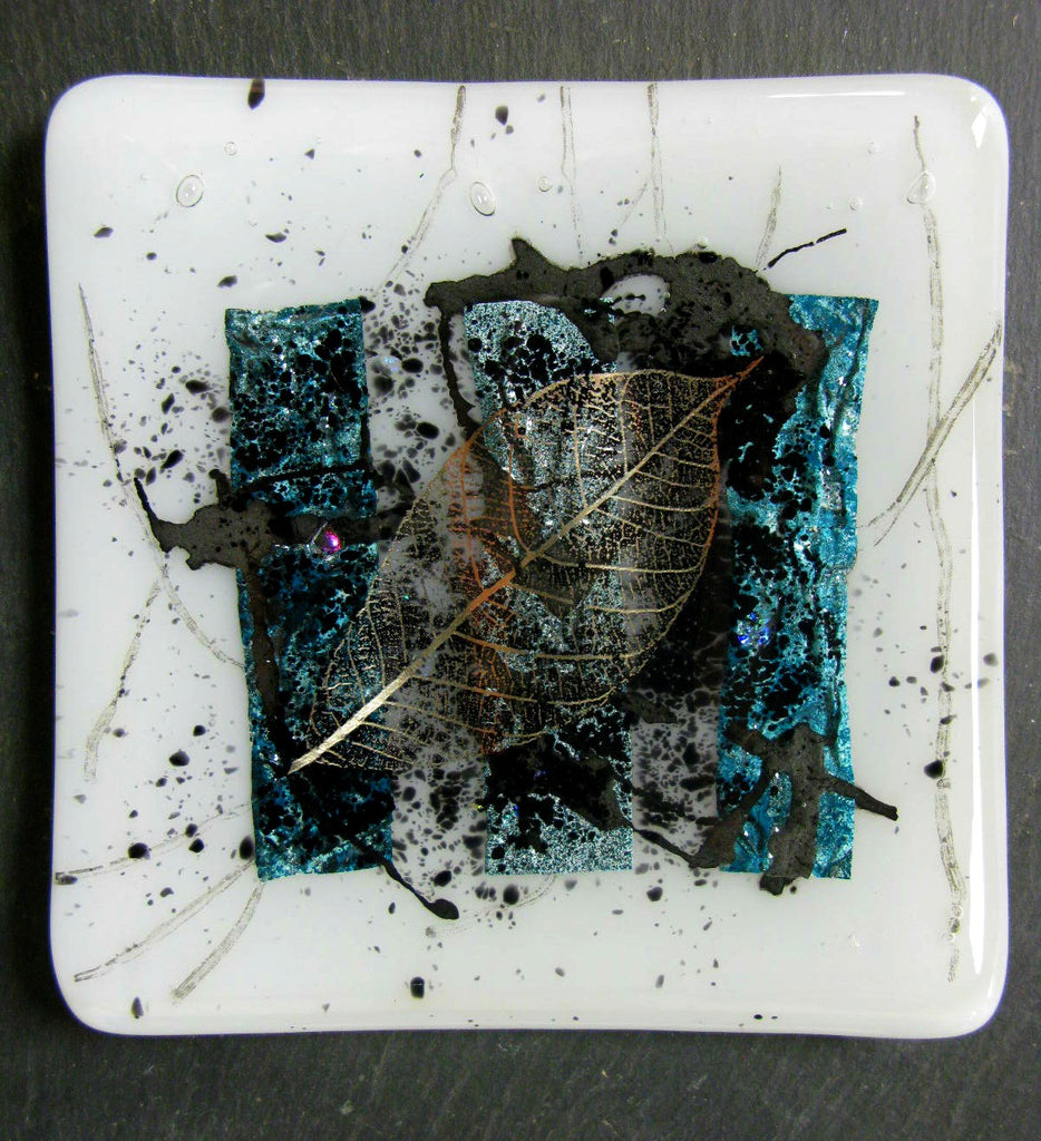 Jenny Hoole - Teal and White Dish Gold Leaf