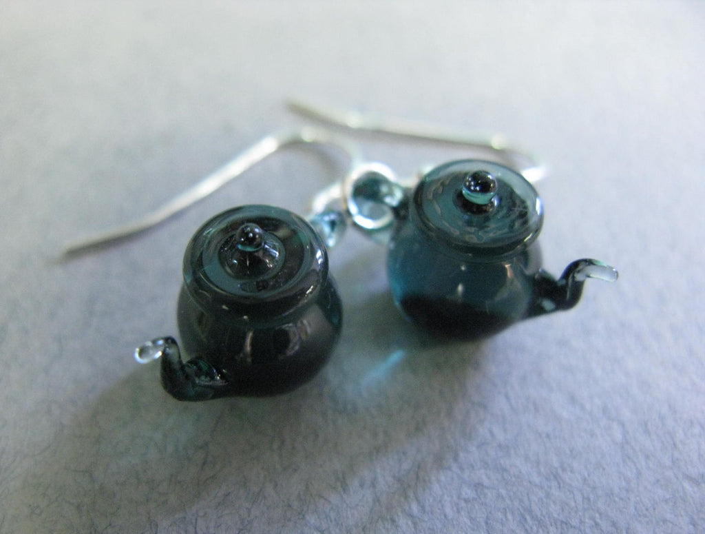 Tiny Teapot Earrings - Teal Green