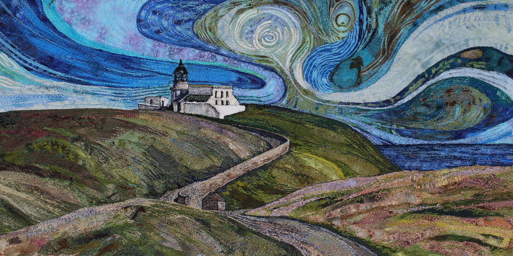 The Road to Stoer Head - textile art by Rachel Wright