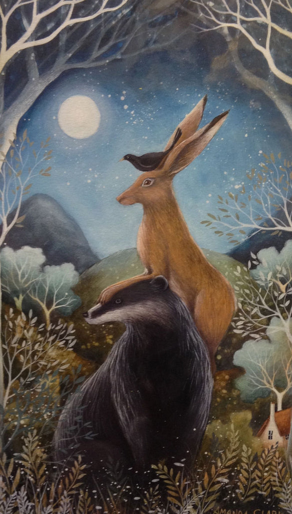 The Badger, the Hare and the Blackbird (mounted) by Amanda Clark