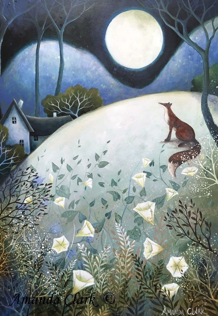 The Big Full Moon - framed original acrylic painting by Amanda Clark