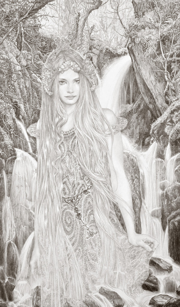The Spirit of the Waterfall - Original Drawing by Ed Org