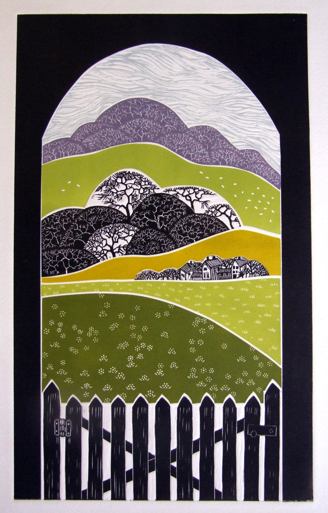 "Linocut ""Through Helmdon's Viaduct"" by Diana Ashdown"
