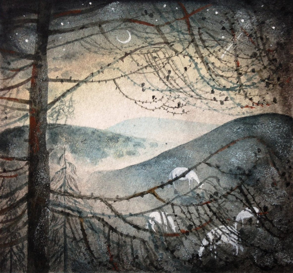 Through the Branches - original ink & watercolour by Flora McLachlan