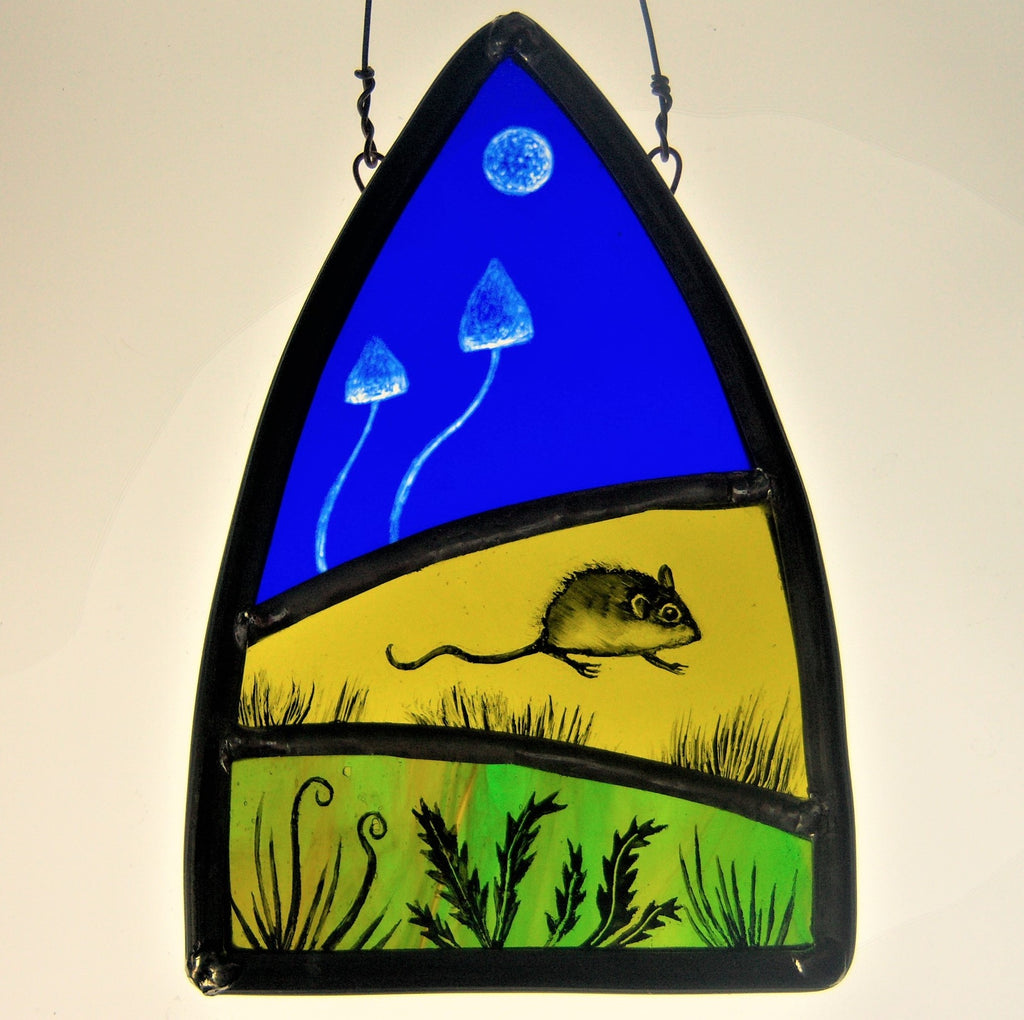 woodmouse by debra eden stained glass