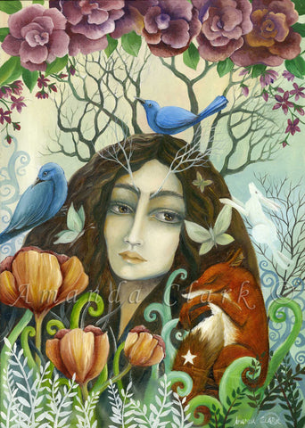 Tree Lady - original acrylic painting on canvas by Amanda Clark