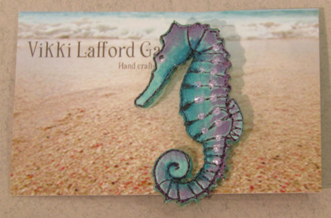 Seahorse Embroidered Brooch by Vikki Lafford Garside