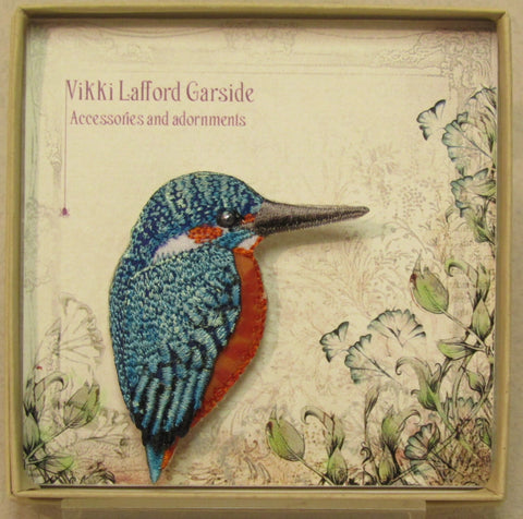 Kingfisher Embroidered Brooch by Vikki Lafford Garside