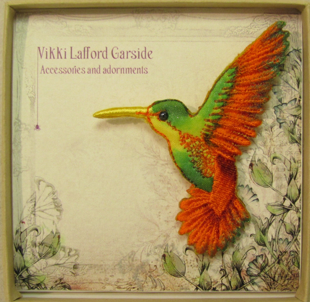 Hummingbird Embroidered Brooch by Vikki Lafford Garside