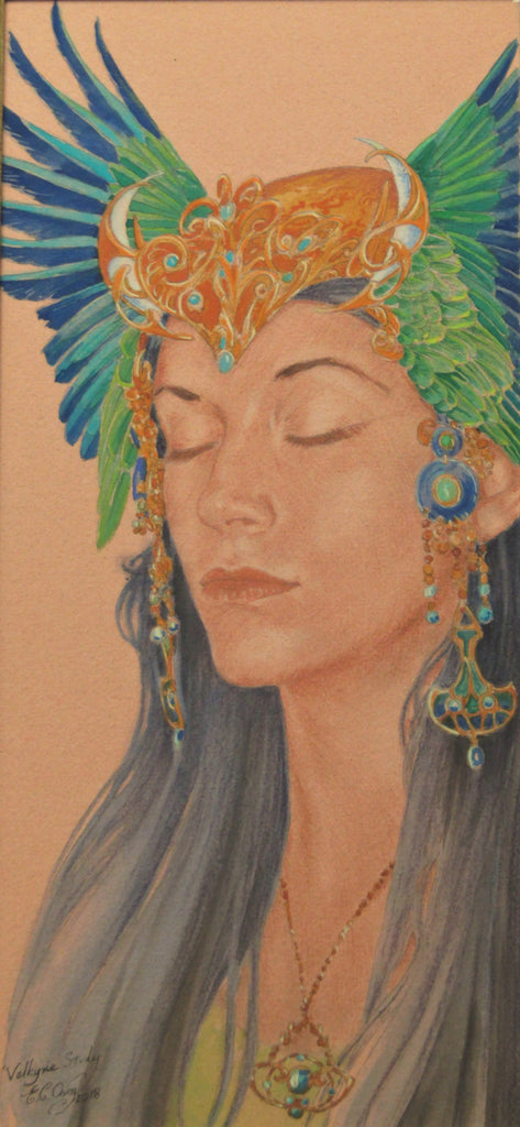 Valkyrie Study - Original Watercolour and Pastel Painting by Ed Org