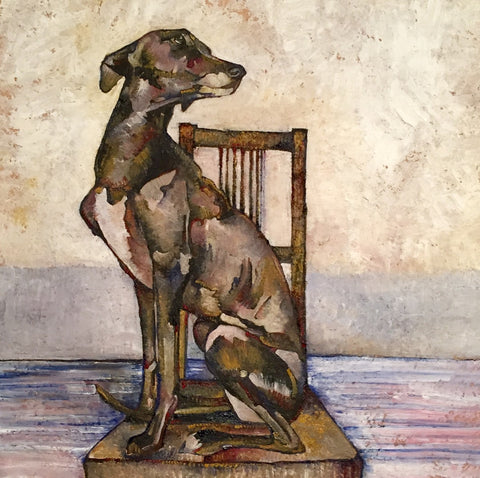 Whippet on Dining Room Chair - reproduction print by Jenni Cator