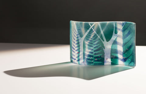 Tree of Heaven, Wave-Shaped Glass Plaque by Verity Pulford