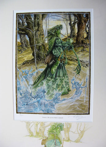Winter, The Green Man's Lament with Hand Drawn Coloured Pencil Drawing