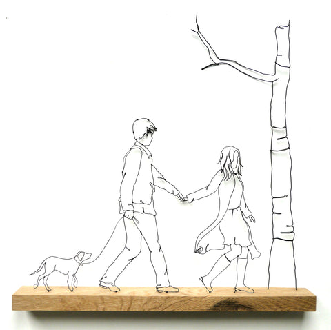 """Woof and Wellies"" - Wire and Wood Sculpture"