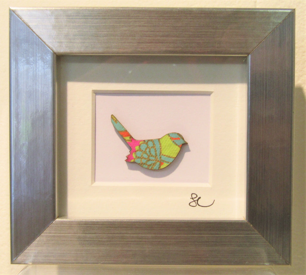 Wren - Mini Framed Assemblage by Sophie Court