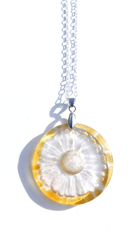 Glass Yellow Daisy Round Pendant on Sterling Silver Chain by Connell & Hart