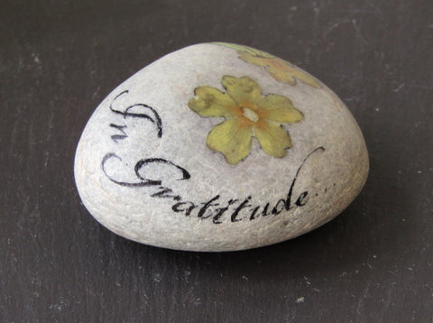 """In Gratitude"" Hand Painted Stone by Alexis Penn Carver"