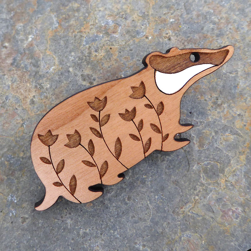 Badger Brooch by Sarah Kelly