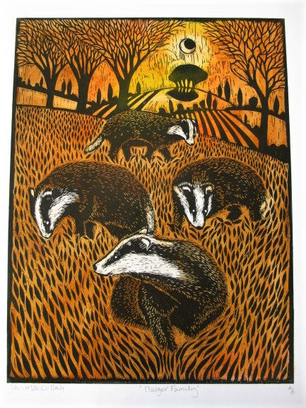 Hand Produced Woodcut of the Badger Family by Ian MacCulloch