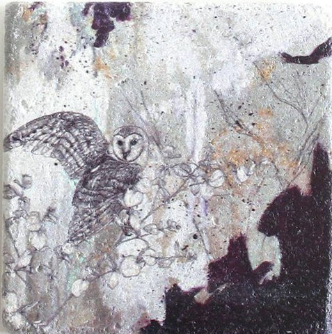 Barn Owl Design Stone Coaster