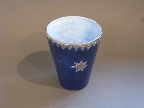 Large Dark Blue and Light Blue Interior Beaker with Silver Star