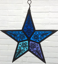 Stained glass blue star by annette jackson