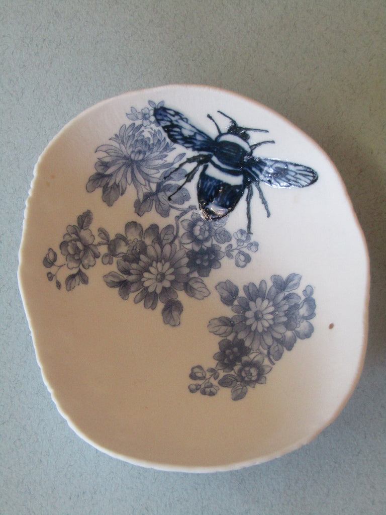 Blue Bumble Bee Floral Trinket Dish by Liz Jones