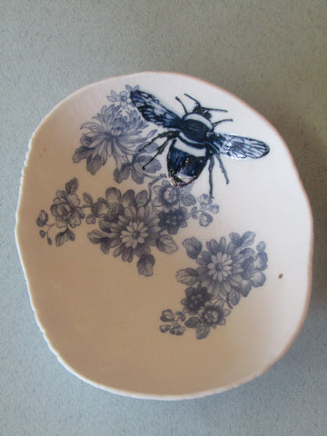 Blue Bumble Bee Floral Trinket Dish