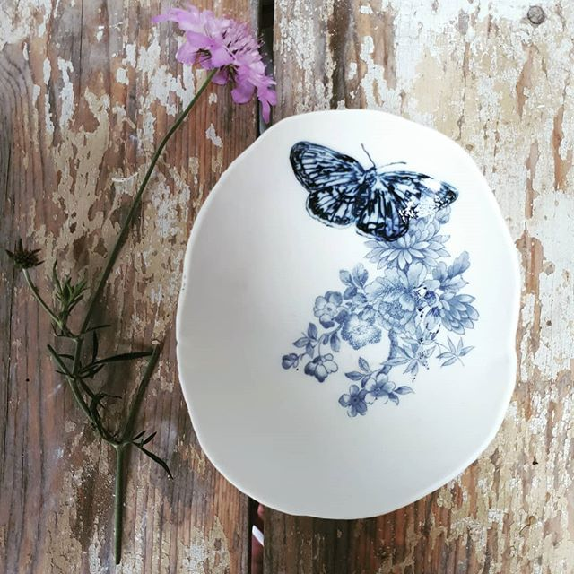 Blue Butterfly Floral Trinket Dish by Liz Jones
