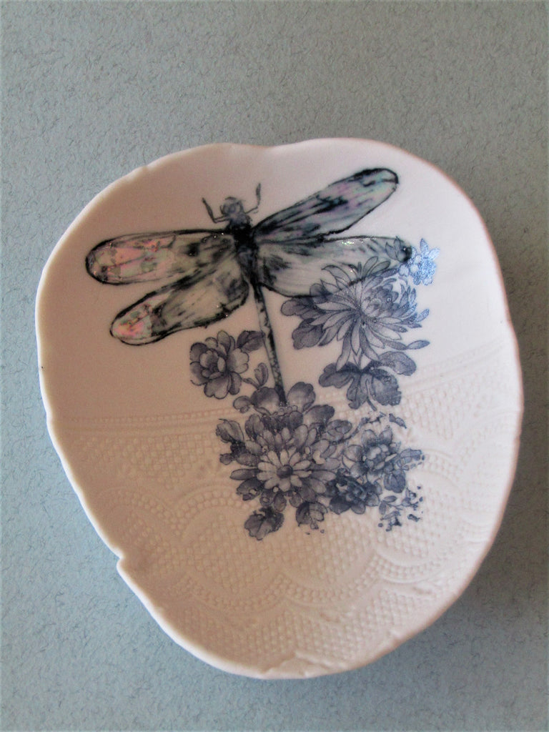 Blue Dragonfly Floral Trinket Dish by Liz Jones