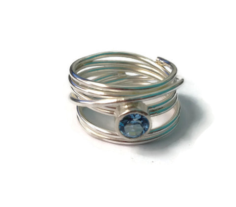 Silver wrrapped blue topaz ring