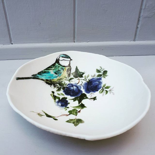 Blue Tit Floral Trinket Dish by Liz Jones