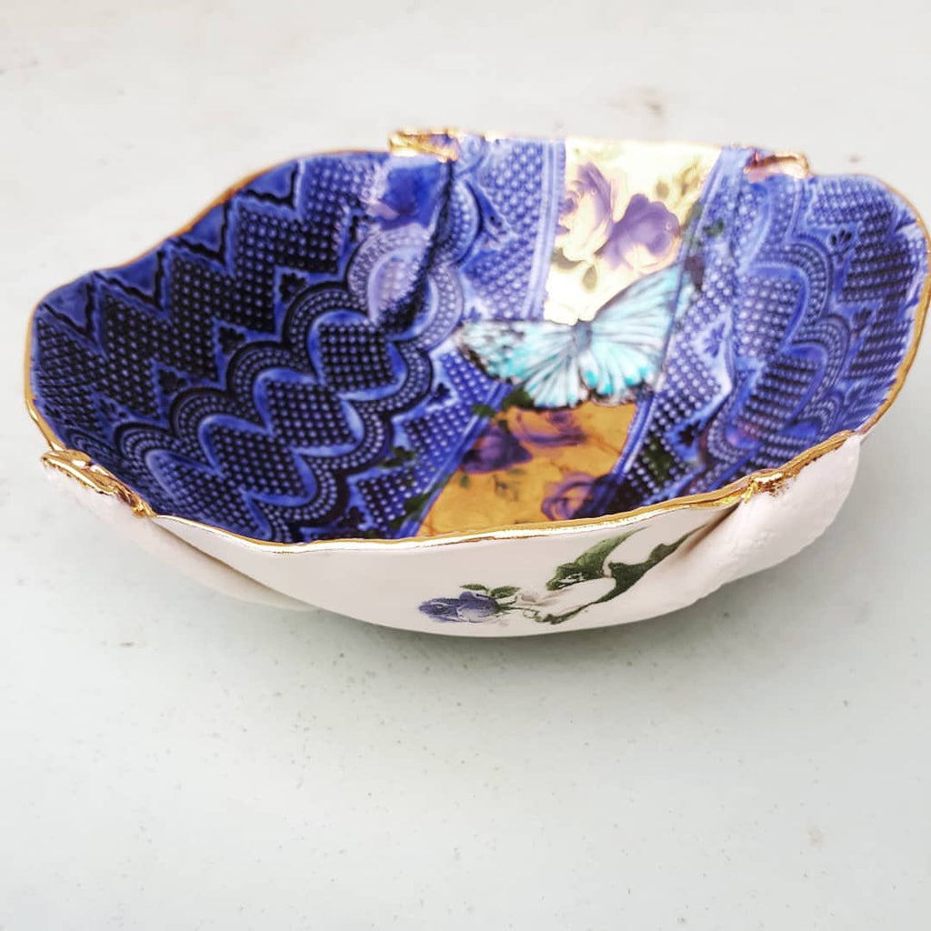 Butterfly Blue & Gold Bowl by Liz Jones