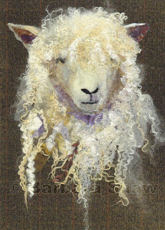 Cotswold Sheep - textile art by Barbara Shaw