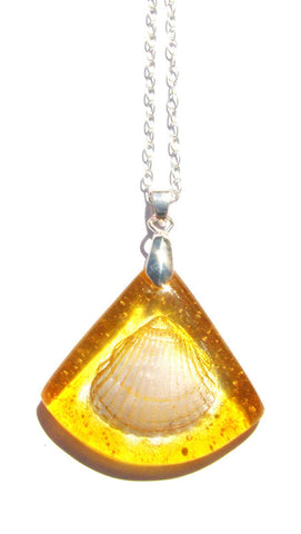 Triangular Glass Shell Pendant