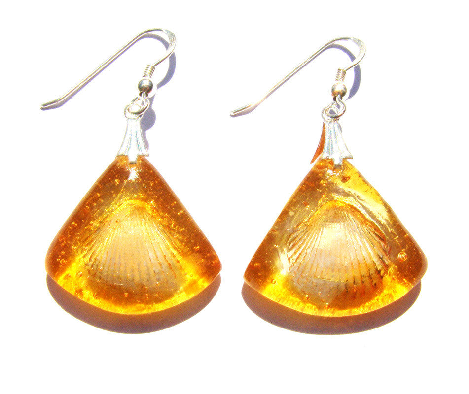 Glass Amber Shell Earrings in Sterling Silver by Connell & hart
