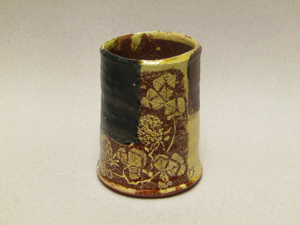 Ceramic Cylinder Pot with Sgraffitto by Mary Johnson.