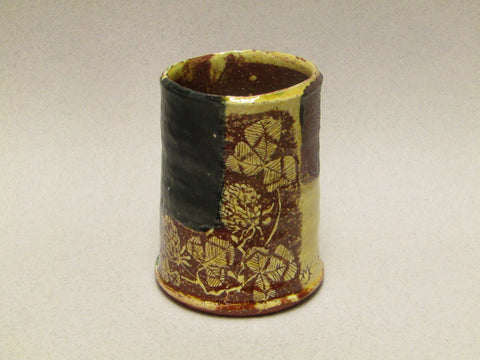Ceramic Cylinder Pot with Sgraffito by Mary Johnson.