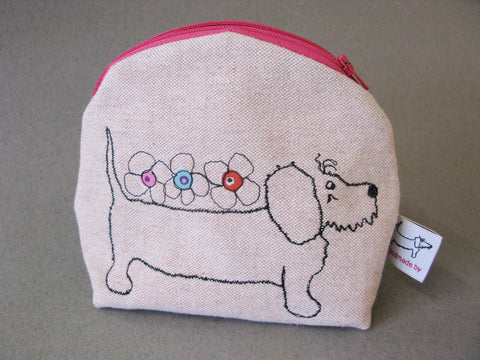 Makeup Bag - Dog with Three Flowers
