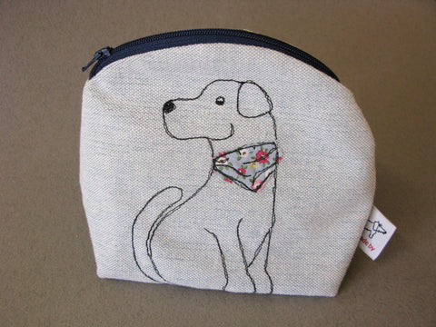 Makeup Bag - Dog with Floral Patterned Neckerchief