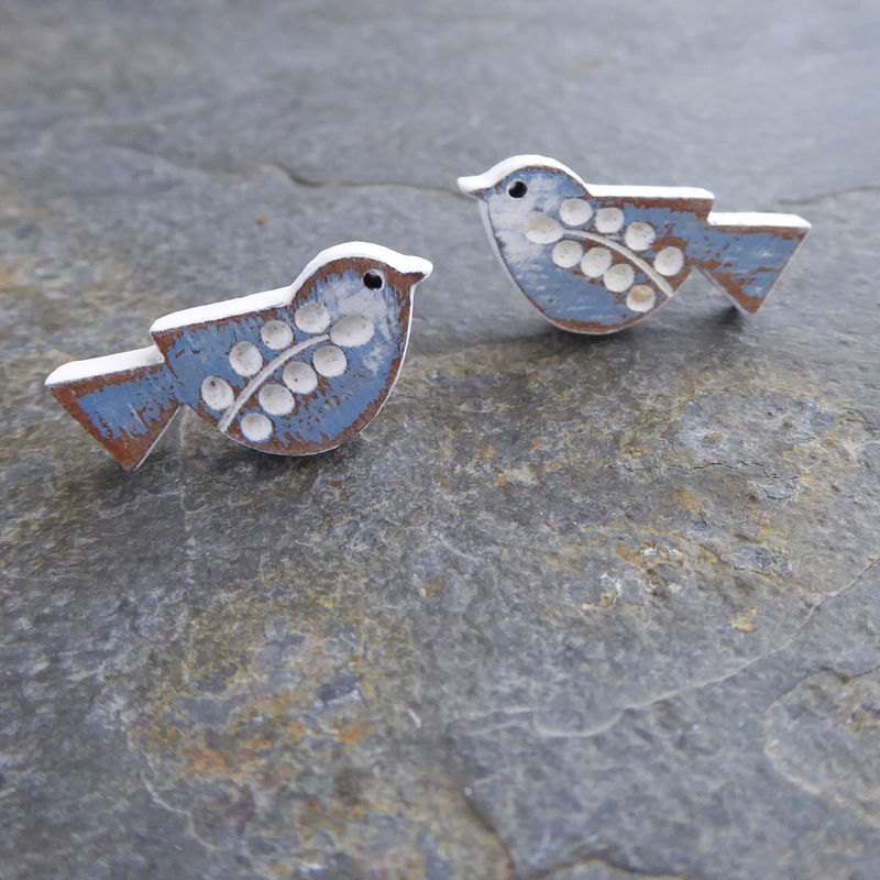Songbird Earrings - Cornflower colouring by Sarah Kelly