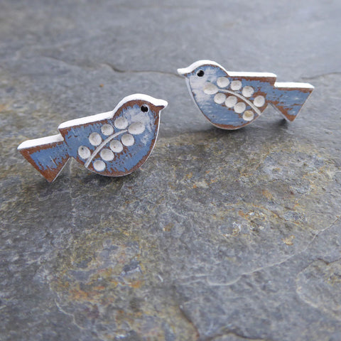 Songbird Earrings - Cornflower colouring