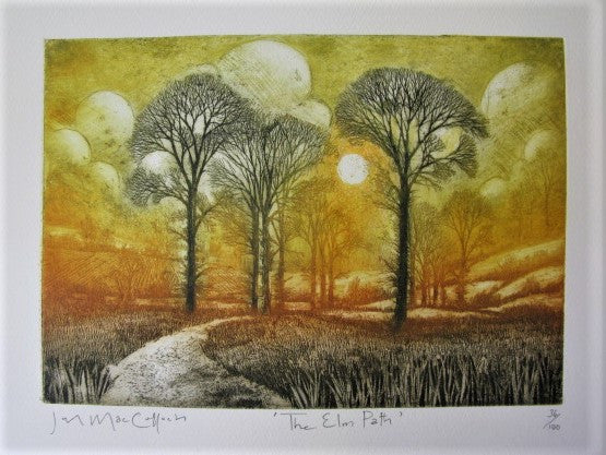 Etching print of The Elm Path by Ian MacCulloch