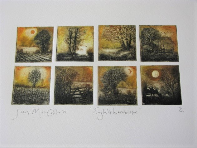 Hand-produced etching of the English Landscape by Ian MacCulloch