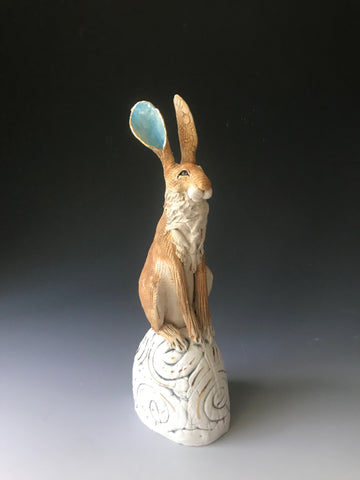 Hare on Hill - Hand-Built Ceramic Sculpture